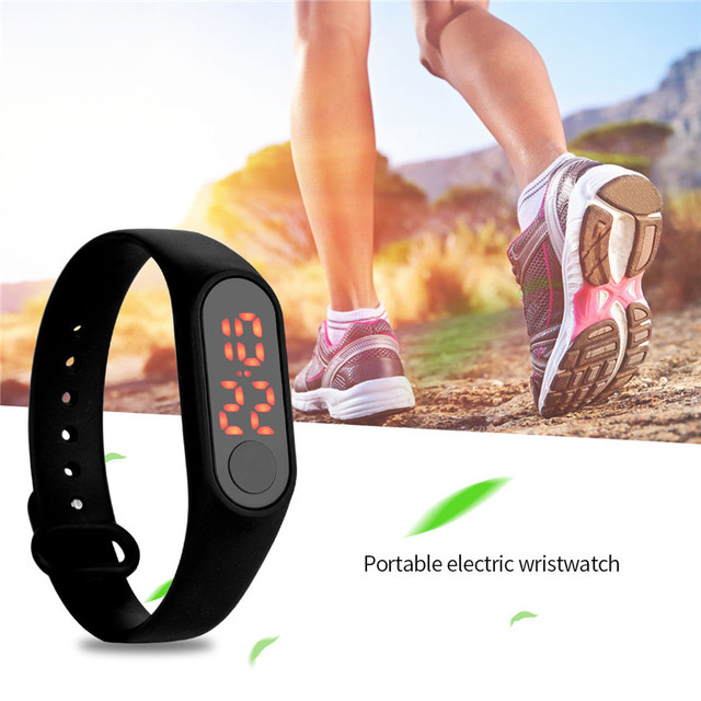 Women's Silicone LED Sports Running Wristwatches Date Portable Electronic Digital Mens watches Children Bracelet Watch Gifts PJ
