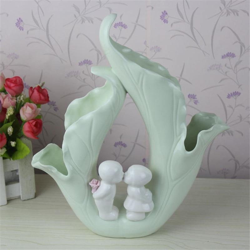 Créatif lotus feuille enfants conception vert en céramique vase ornement décor à la maison artisanat art Feng Shui porcelaine figurines cadeau de mariage