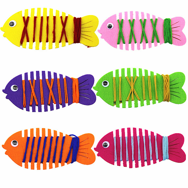 Kindergarten Wrapped Threading Wear Line Fish Manual Game Puzzle Early Learning Education Toys Montessori Teaching Aids Math Toy