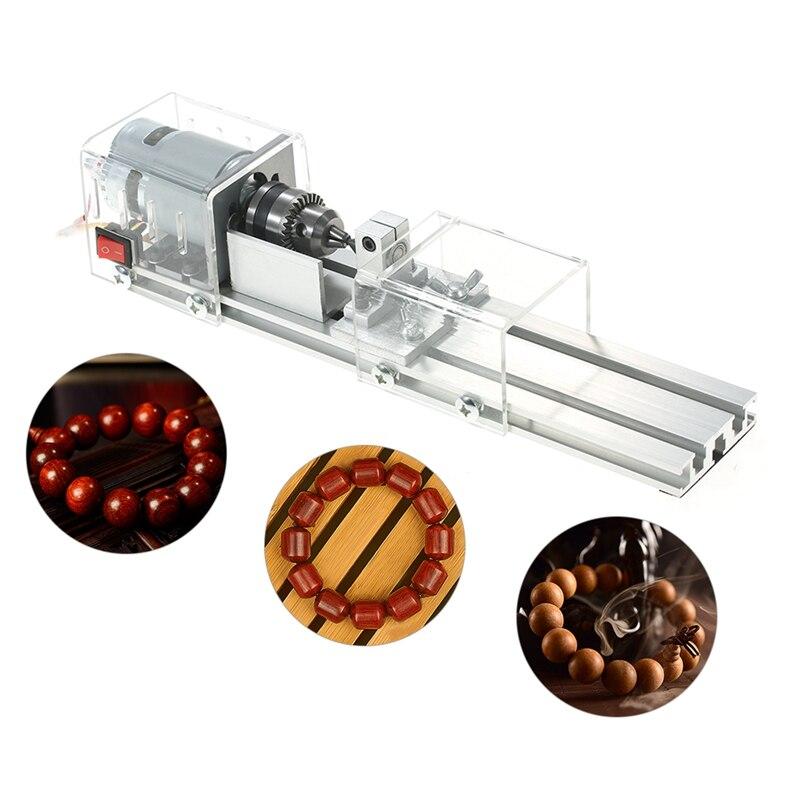 Wtyczka amerykańska, Mini tokarka koraliki maszyna 100W obróbka drewna Diy tokarka polerowanie cięcie Mini wiertarka obrotowa narzędzie standardowy zestaw z mocą S