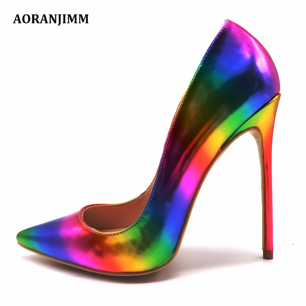 Free shipping AORANJMM real pic colorful rainbow printed pointed toe woman lady female 12cm 10 5cm