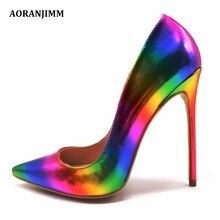 aoranjmm реальное изображение красочные с принтом радуги с острым носком женщина леди 12 см 10.5 см 8 см высокая обувь на каблуке Туфли-лодочки