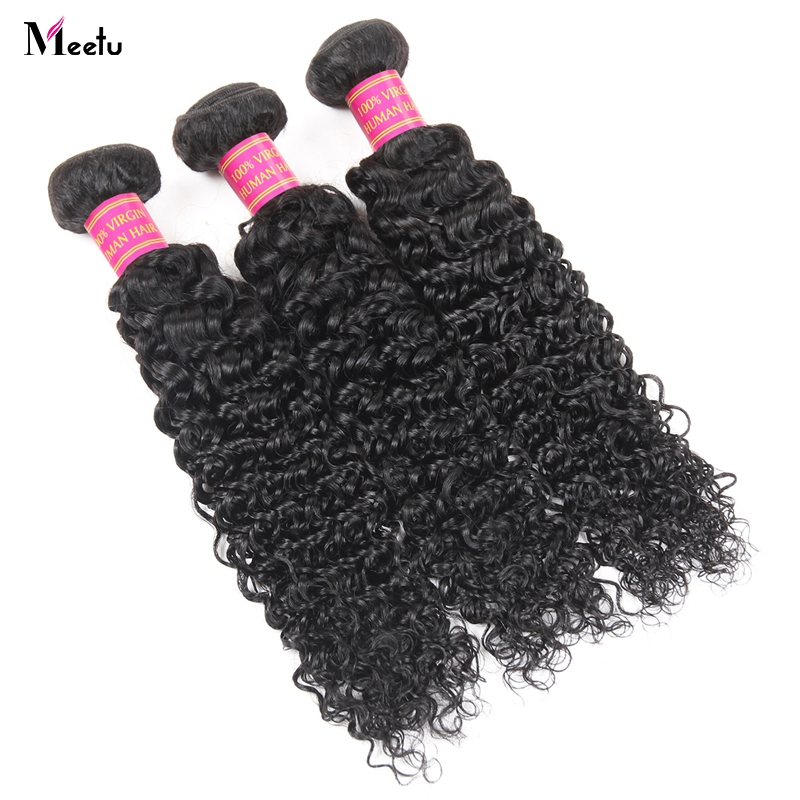 Meetu Mongolian Kinky Curly Hair Weave Bundles 100% Human Hair Extensions Machine Double Weft Natural Color Non Remy Hair