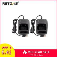2 stuks USB Li-Ion Radio Acculader Input 5 V 1A Voor Baofeng BF-888S bf888S Retevis H777 H-777 Walkie Talkie USB Charger J9104E(China)