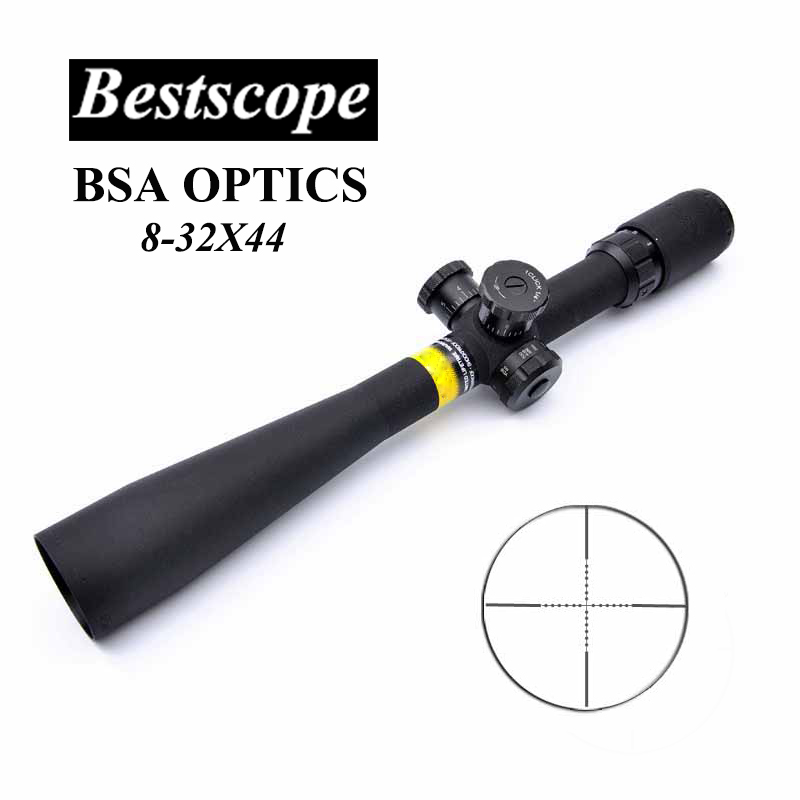 BSA OPTICS 8-32X44 Hunting Scopes Tactical Air Rifle Scope Long Eye Relief Rifle Scope Glass Reticle Sniper Riflescope Hunting vector optics sentinel 4 16x50 e sf hunting rifle scope mp reticle long eye relief gun sight with mount ring honeycomb sunshade
