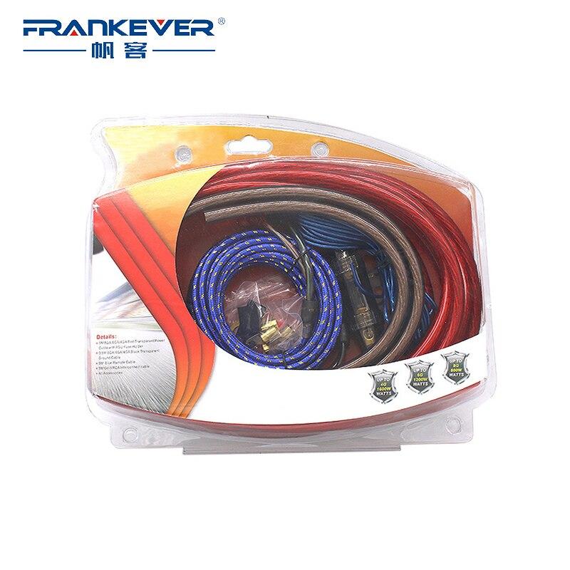 Frankever HIFI 4GA câbles Audio amplificateur de puissance haut-parleur de voiture Woofer Subwoofer câbles RCA ligne d'alimentation fusible costume