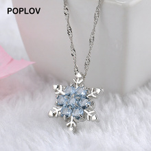 POPLOV Charm Blue Lady Crystal Vintage Snowflake Zircon Pendant Necklace Silver Color Long Chain Jewelry For Women Free Shipping