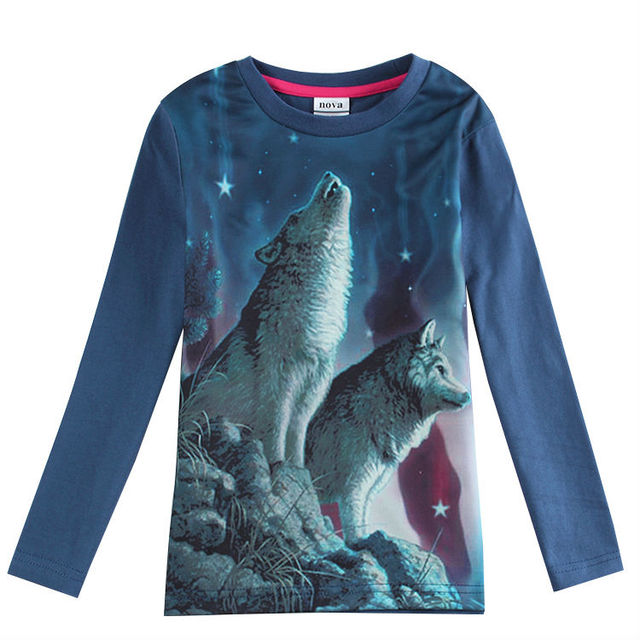 boy long sleeve t shirt for boys new style nova brand children clothing  print wolf cool t shirt children t shirts