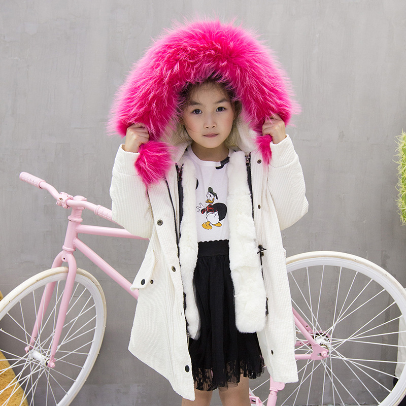 2017 New Fashion Luxury Children Winter Clothes Rex Rabbit Fur Jacket Boy &Girl Winter Long Fur Coat 5615 new fashion children natural fur jacket boy