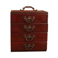 Antique Jewelry Storage Box Retro Ming & Qing Dynasty Style 4 Drawers Make up Storage Box
