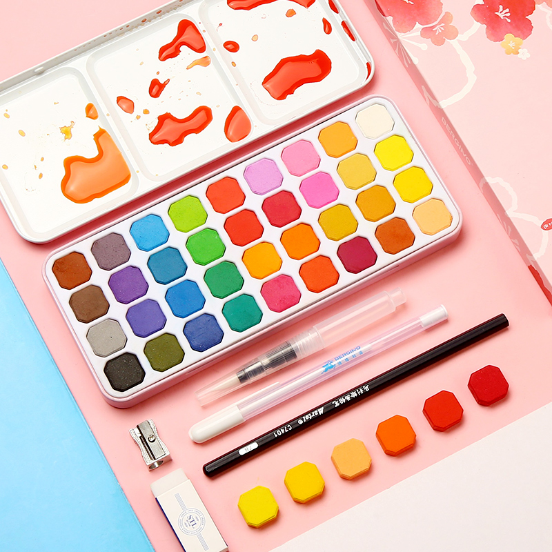 Watercolor Paint 36 Color Iron Boxed Watercolor Brush Fountain Pen Set Beginner Hand-painted Solid Water Color Art Supplies