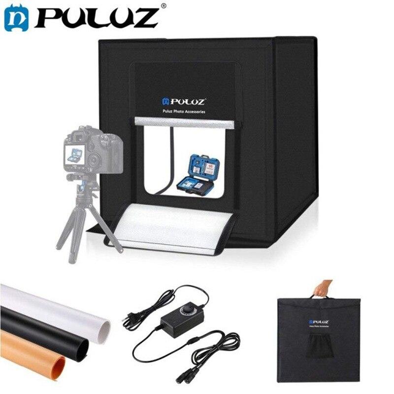 PULUZ 60*60 cm 24 boîte lumineuse Portable Mini photo studio boîte à lumière softbox 60 W Blanc Lumière Photo Éclairage Studio tir boîte de tente Kits