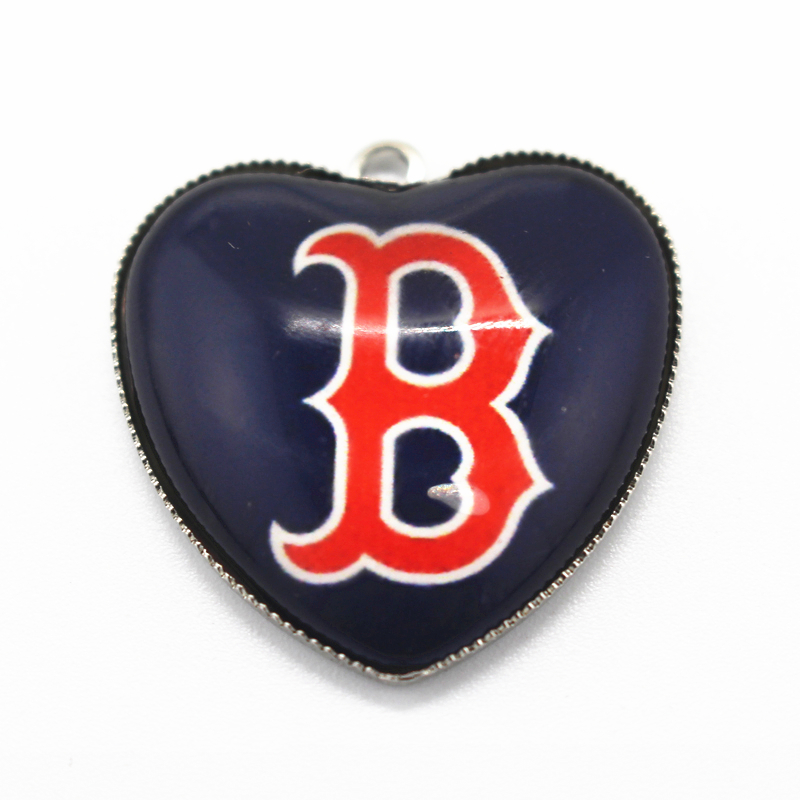 12pcs Heart Boston red sox Charms Baseball Sports Dangle Charms Pendants DIY Jewelry Accessory Floating Hanging Charms