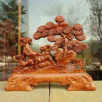 Peach wood zodiac sheep furnishing living room fortune transfer town house decoration ornaments crafts handicraft