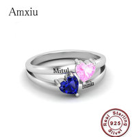 Amxiu Personalized Promise Ring For Her Women Double Birthstones Engagement Rings 925 Sterling Silver Engraved Name Ring Jewelry