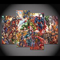 4 Pcs/Set Framed HD Printed Iron Man Comics Superman Hulk Picture Wall Art Canvas Print Decor Poster Canvas Modern Oil Painting