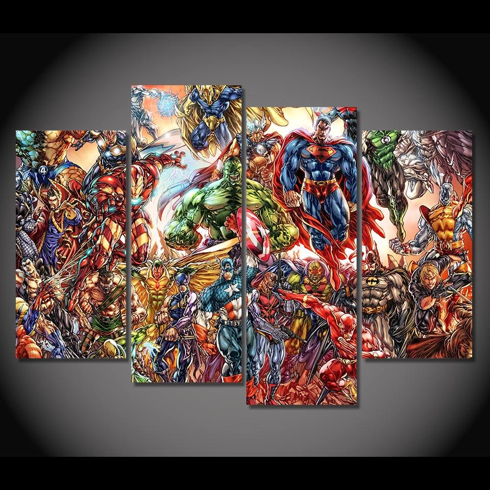 4 Teile/satz Gerahmte HD Printed Iron Man Comics Superman Hulk bild ...