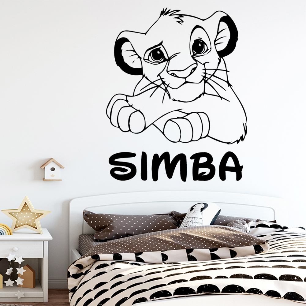 Cute Custom Name Lion King Simba Wall <font><b>Stickers</b></font> Vinyl Wallpaper For Kids Rooms Rio Lion <font><b>Sticker</b></font> Room Wall Decal <font><b>stickers</b></font> <font><b>muraux</b></font> image