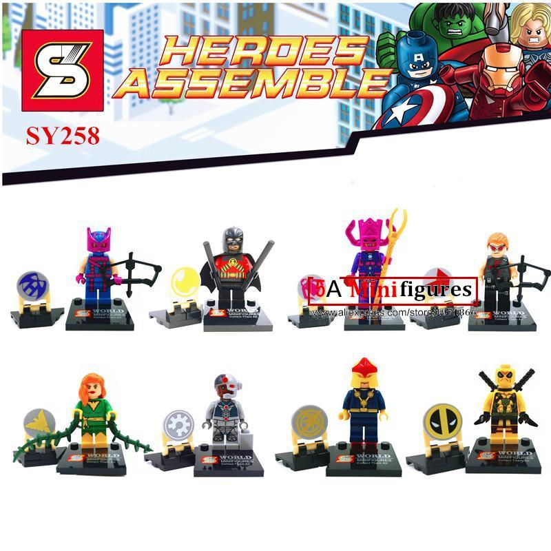 8Pcs  STAR WAR Marvel super hero Hawkeye Cyborg Poison NOVA minifigures action figure bricks baby children kids toys