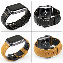 Genuine cow leather watchbands black watch bracelet accessory watch strap Case For Apple watch band 42mm 38mm iwatch