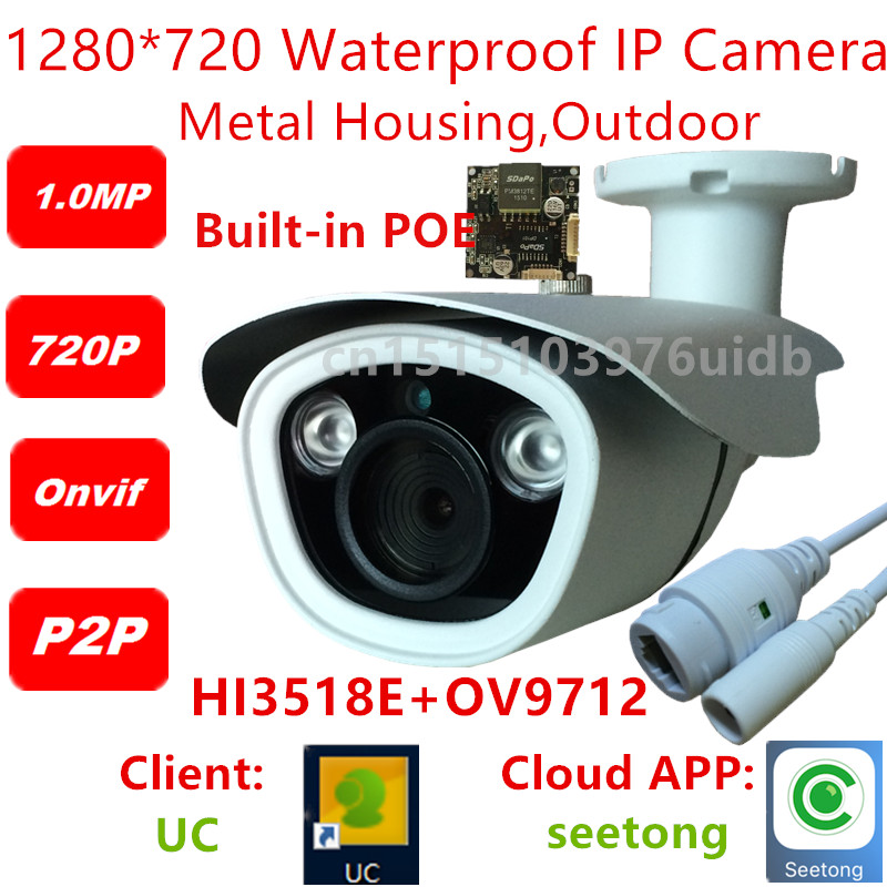 ФОТО 1280 x 720P  HD 1.0MP Waterproof Outdoor IP Camera 2 Array LED Security Camera ONVIF POE  P2P CCTV Cam with Bracket free