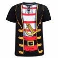 De los hombres Del Pirata 3D Camiseta Divertida Para Adultos Fiesta de Disfraces Cosplay Hombre Camisetas de la novedad Tee