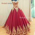 Sexy Red Ball Gown Prom Dress with Gold Lace Appliques Sweetheart Corset Back Floor Length Evening Party Dress