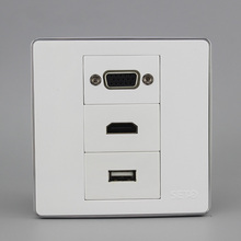 Multi-Function Wall Socket 86X86MM  USB + VGA HDMI Combination Panel