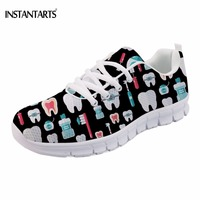 INSTANTARTS Casual Black Lace Up Flats Shoes Girls Funny 3D Cartoon Dentist/Teeth Printed Woman Summer Sneakers Fashion Footwear