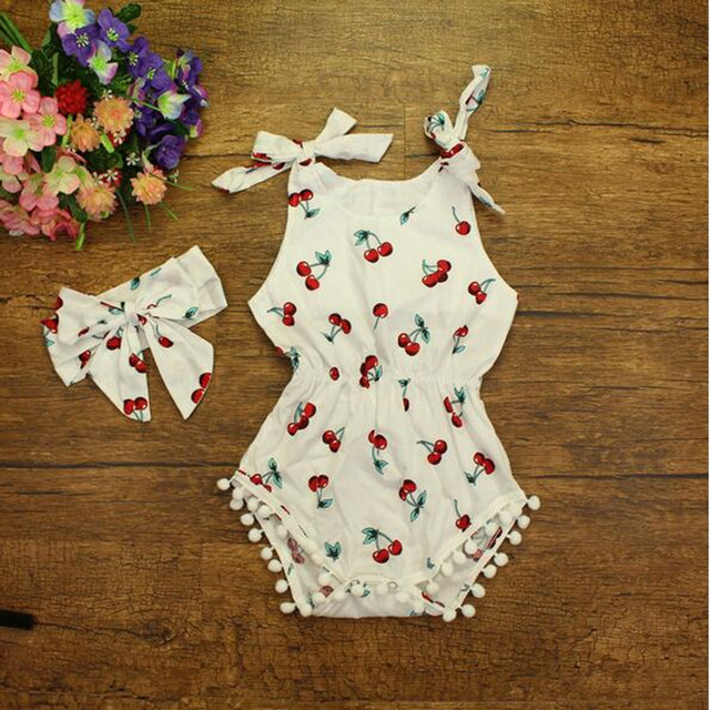 577fe90a8 Factory Retail Pom Baby Rompers ,Cotton Baby Girls Bubble Romper  ,Adjustable Strap Cherry Girls Jumpsuit Headband ,3T toddler