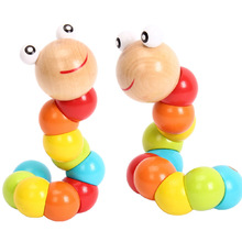 Colorful Insects Twist Wooden Children Kids Baby Fingers Flexible Training Science Educational Puzzle Cute Toys