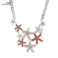 Gold Silver Sea Stars Metal Necklaces Women Summer Beach Boho Choker Necklaces 2016 Fashion Jewelry Collier
