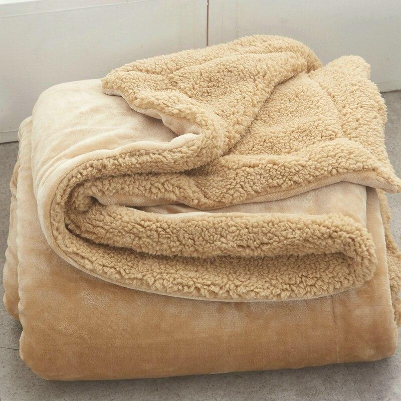 AB боковое Коралловое бархатное и кашемировое одеяло из овечьей шерсти, мягкое плотное одеяло для кровати, дивана, теплое флисовое шерстяное одеяло для спальни, 13 цветов
