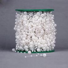5 metros perlas artificiales Cadena de cuentas guirnalda para flores DIY boda fiesta Favor novia ramo decoración Beige blanco rosa rojo