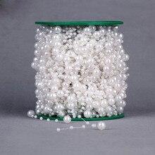 Contas de pérolas artificiais 5 metros, corrente guirlanda flores diy festa de casamento lembrancinha decoração buquê bege branco rosa vermelho