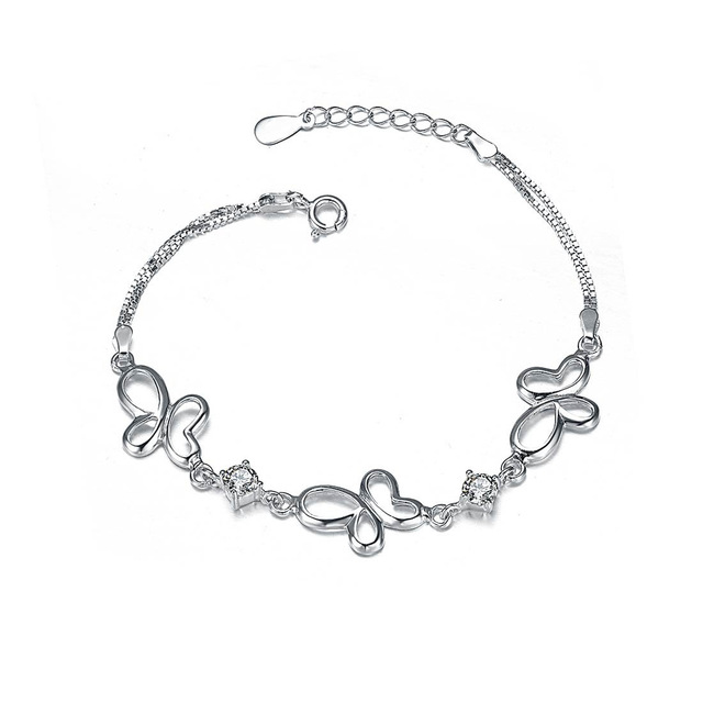 Factory Direct S925 Silver Butterfly Bracelet Korean Fashion Jewelry Birthday Valentine's Day Gift Wholesale