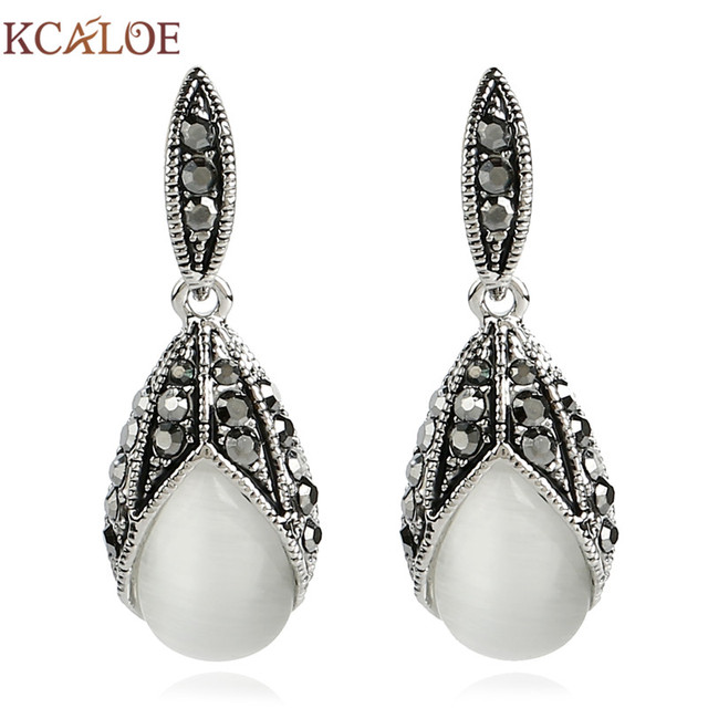 5f68a7b3bc6a1 US $5.41 35% OFF|Aliexpress.com : Buy KCALOE Vintage Black Crystal  Rhinestone Drop Earring Antique Silver Plated Natural Stone Opal Wedding  Earrings ...