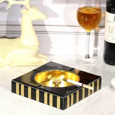 Креативная стеклянная Золотая полосатая коробка для салфеток скандинавском стиле журнальный столик для гостиной спальни макияж ящик для хранения пультов дистанционного управления пепельница - Цвет: F