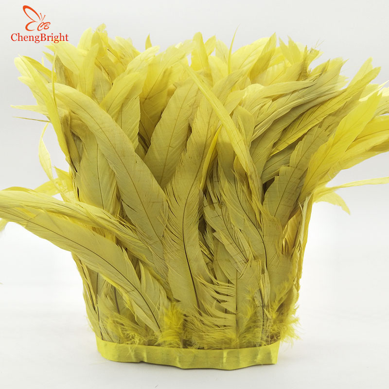 ChengBright 10 Yards Yellow Rooster Tail Feather Trim Coque Feather Trimming Feather For Crafts Dress Skirt Costumes Plumes
