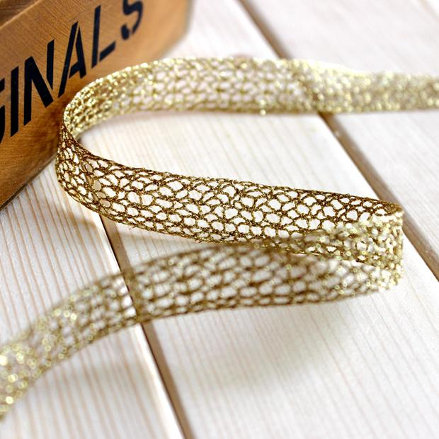 free shipping 20 yardslot 1.5cm golden line lace sewing diy accessories bow trim ribbon decorative embroidery fabric 249