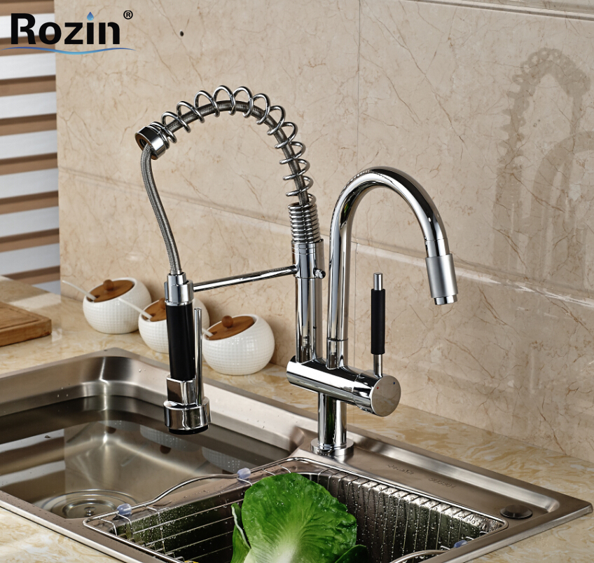 Deck Mount Dual Swivel Spout Kitchen Sink Faucet Mixer Taps Chrome Finished Spring Pull Down Water