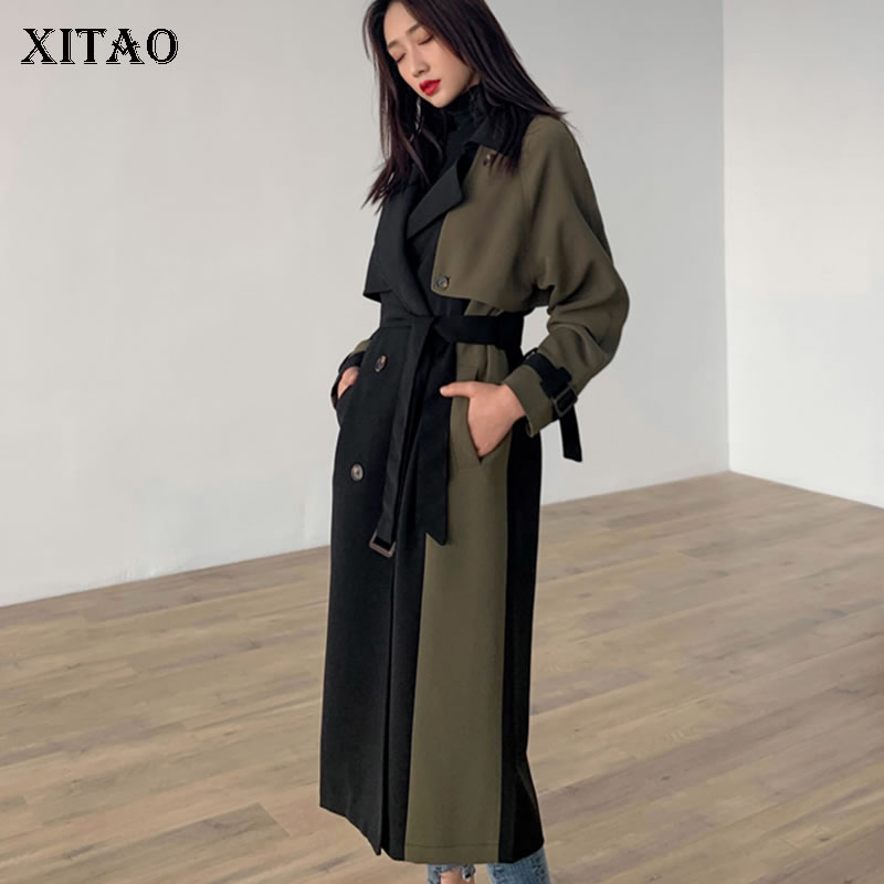 [XITAO] 2019 Spring New Women Korea Turn-down Collar Full Sleeve Casual Trench Female Double Breasted Patchwork Coat DLL1801