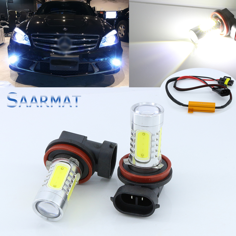 2 x No Error Canbus  6000K White  H11 H8 w/ CREE Chips  11W Projector Fog Light DRL Bulb   For Mercedes W211 W212 W164 W221 2x 9006 hb4 led projector fog light drl 12w no error for volkswagen golf 6 mk6 2011 2012 scirocco 08 on t5 transporter 2003 2016
