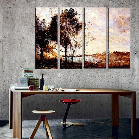 Buy 4 piece art set aesthetic landscape for Dining wall painting