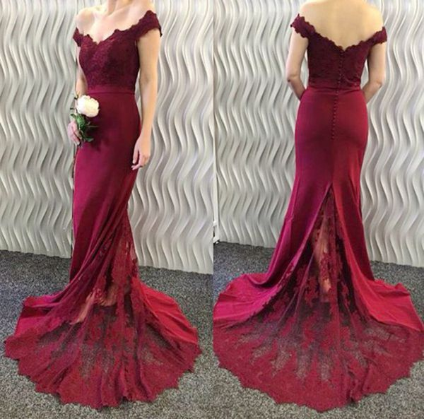 Burgundy 2019 Cheap   Bridesmaid     Dresses   Under 50 Mermaid Off The Shoulder Lace Long Wedding Party   Dresses   For Women