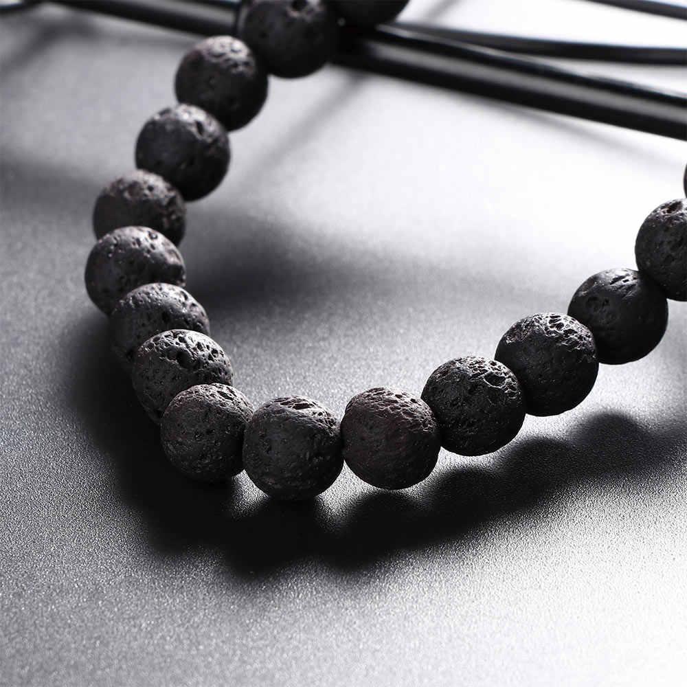 1 pc Schwarz Natürliche Lava Stein Elastische Perlen Armband Modeschmuck Geschenk Unisex Schmuck Geschenk Zubehör 2019 Mode Neue