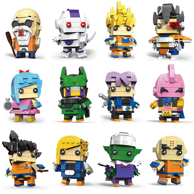 Cute Doll Dragon Ball Z Super Saiyan Goku Action Figure Toy ball BrickHeadz  Building Blocks Toys For Children