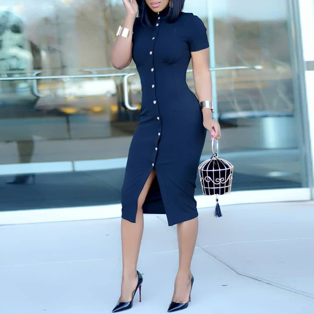Women Fashion 2018 Workwear Formal Dress Single Breasted Short Sleeve Bodycon Midi Dress by Ninimour