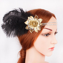 Gatsby headband diamond-encrusted floral headdress party bridal vintage