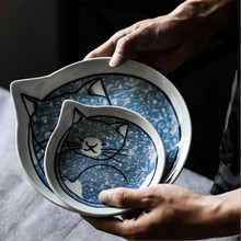Water drop shape Cute cat Porcelain Dessert Dish Cake Tray Sauce Vinegar Jam Dishes Kitchen Ceramic PlateTableware 1pc